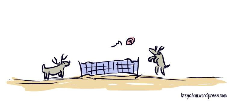 reindeer playing volleyball