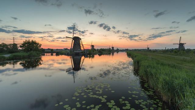 Sunset in Kinderdijk