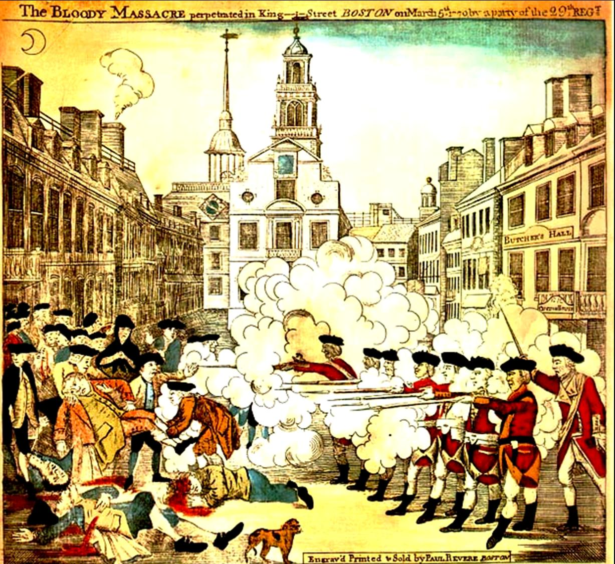 The Boston Massacre, known as the Incident on King Street by the British, was an incident on March 5, 1770, in which British Army soldiers shot and killed people while under attack by a mob.