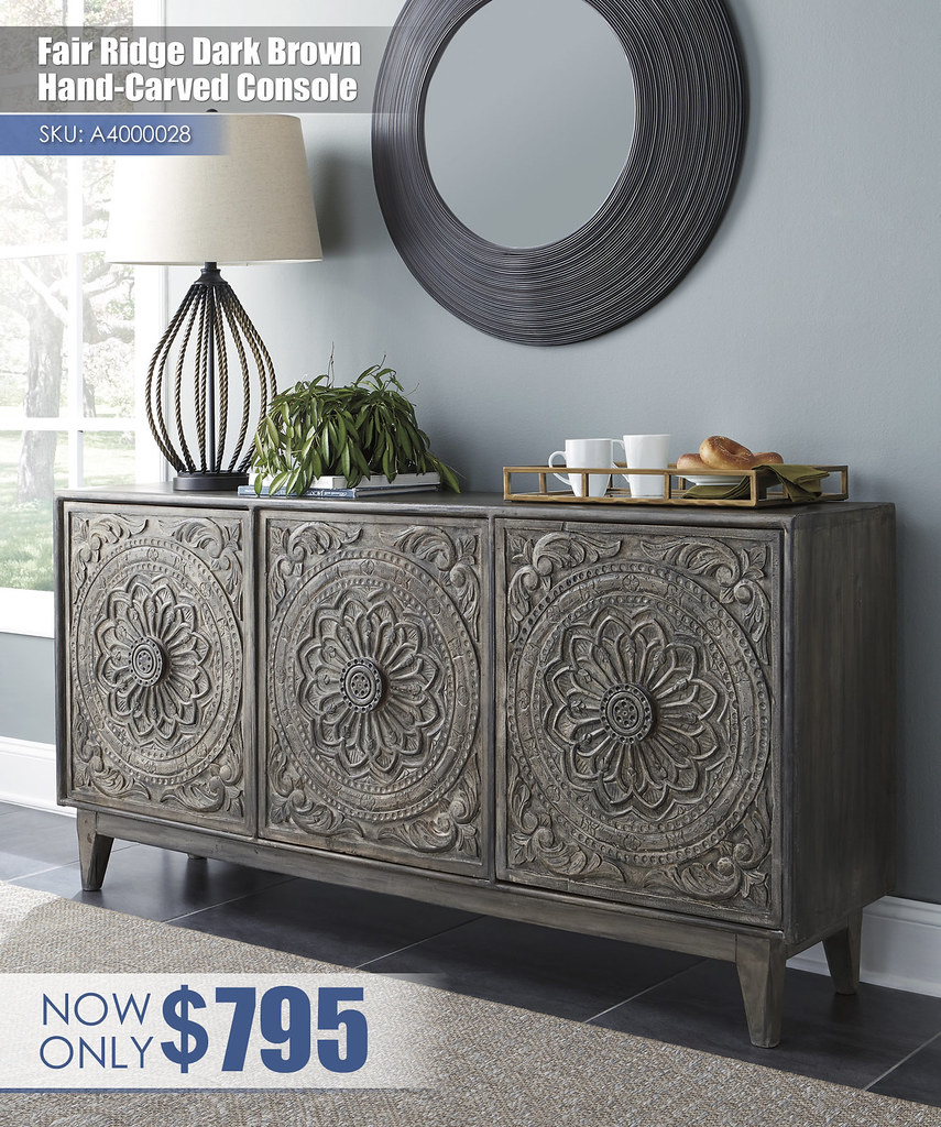 A4000028 - Fair Ridge Dark Brown Hand Carved Console $795