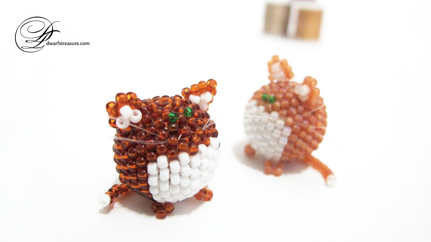 decorative ginger beaded cat figurines