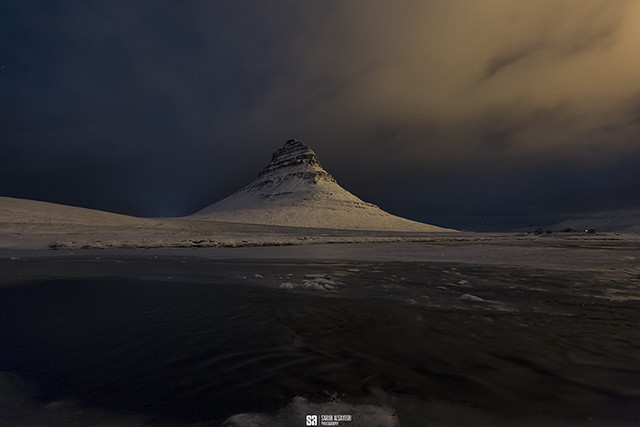 Iceland - Winter Night At Kirkjufell Mountain