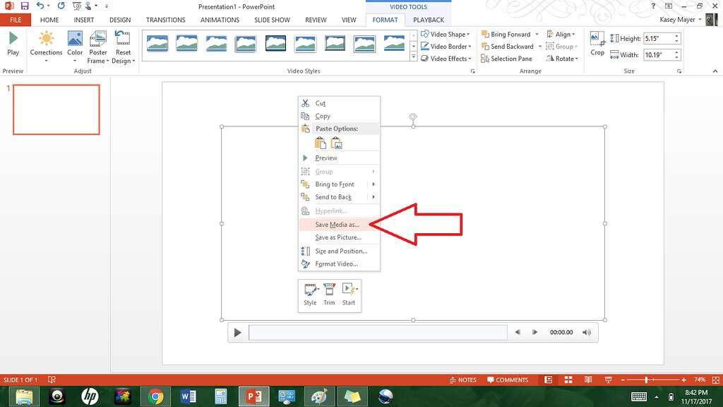 video transfer to powerpoint, save as