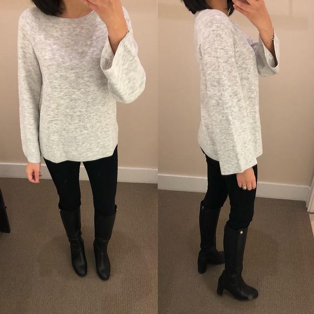 LOFT Textured Bell Sleeve Sweater, size XS regular