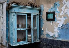 blue cupboard.