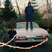 """Conclusive proof that teenagers used to stand on the trunks of their parent's cars in the 1970s. Note the gas-crisis era sticker of """"My Limits"""" 50 mph and 68 degrees. The car was bought at Mario D'Addario Buick, a large dealership. Milford, CT. Jan 1974 by wavz13"""