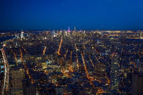 Dusk falling on Manhattan