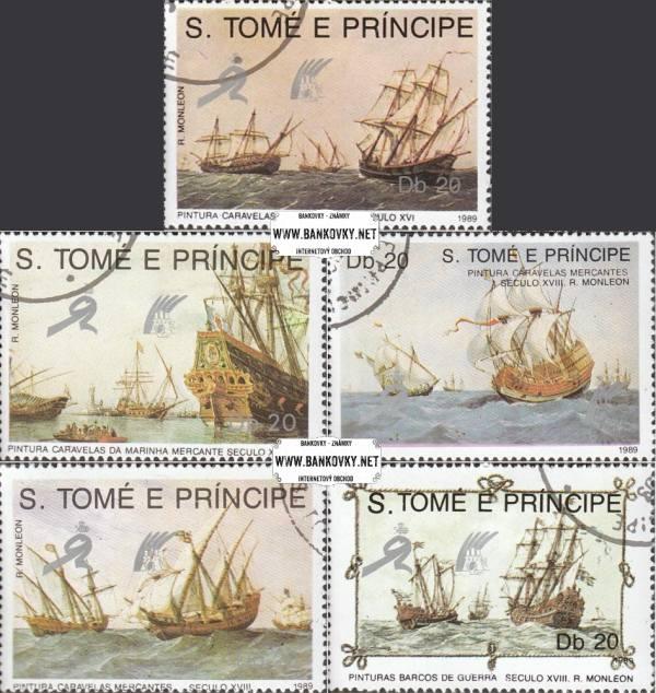 Známky Svätý Tomáš 1989 Plachetnice, razítkovaná séria