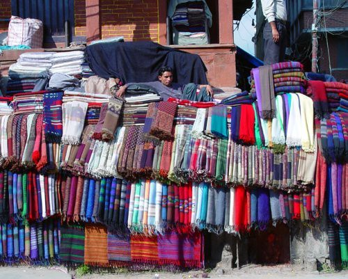 Streetside pashmina. From Shopping for Pashmina in Kathmandu: A Complete Guide