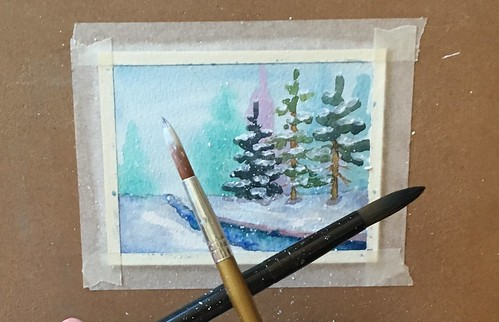 Watercolor Christmas cards step by step