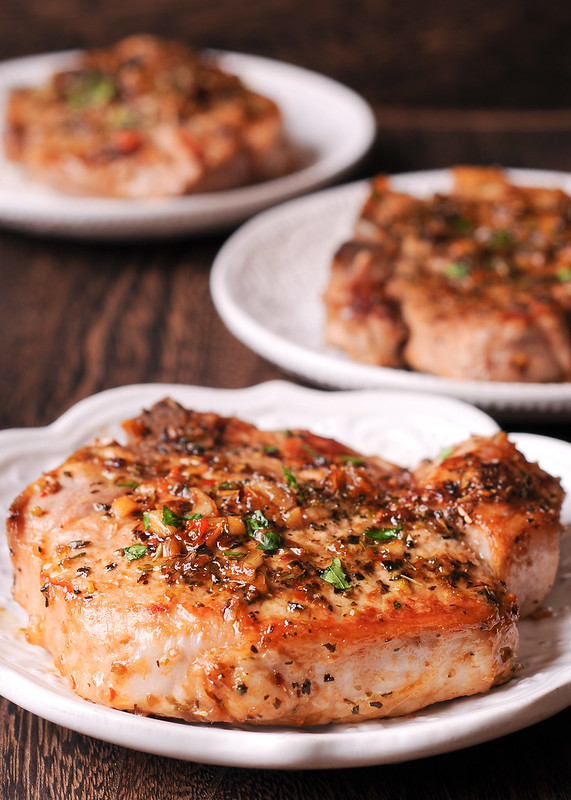 Pan Seared Pork Chops with Garlic, Brown Sugar and Herbs