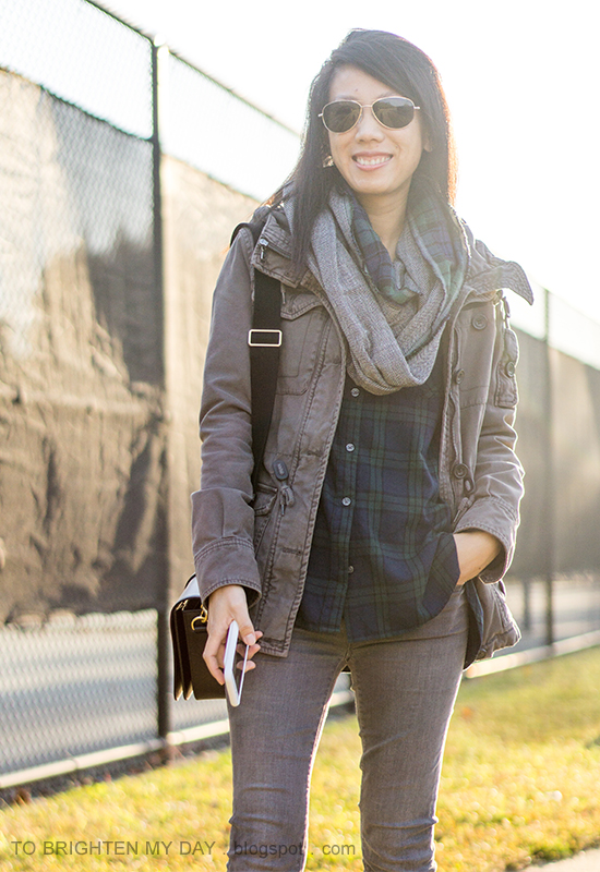 plaid and herringbone infinity scarf, gray military jacket, black watch plaid shirt, gray skinny jeans, black shoulder bag