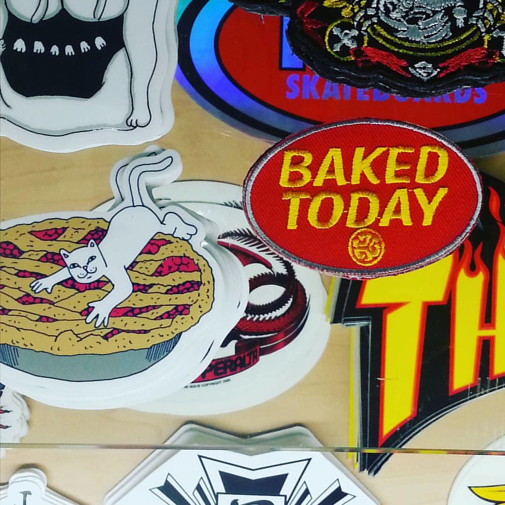Fresh pie! Skate patches from #ripndip and #grubwear #webad #bakedtoday #420