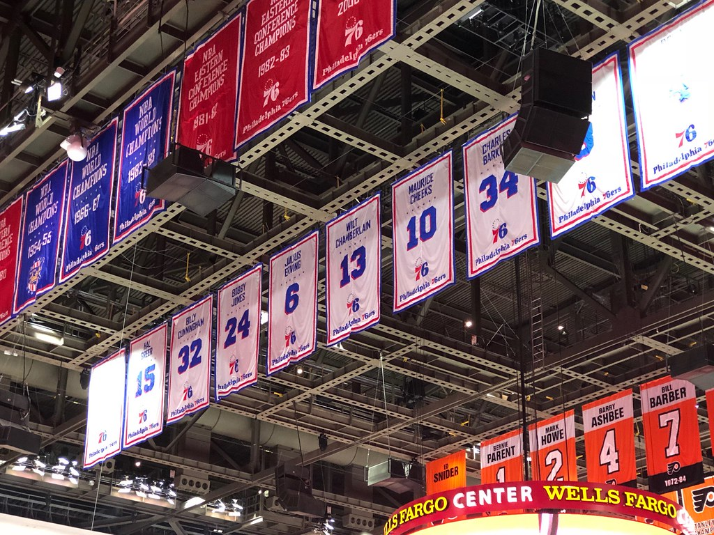 Wells Fargo Center-Sixers retired numbers
