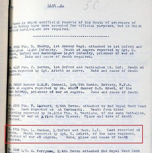 Leonard Casban b1887 Croydon POW report WWI