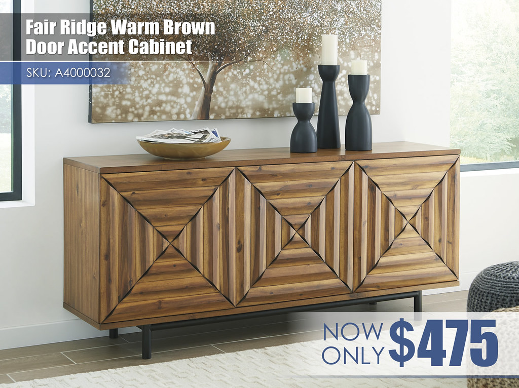 A4000032 - Fair Ridge Warm Brown Door Accent Cabinet $475