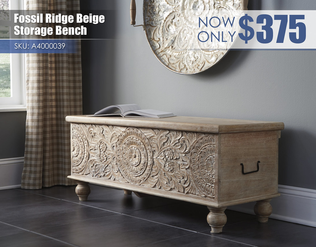 A4000039 - Fossil Ridge Beige Storage Bench $375