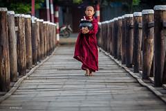 Young novice monk crosses bridge - Mandalay, Myanmar