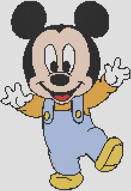 Preview of Little Mickey Wants A Hug: Disney baby cross stitch