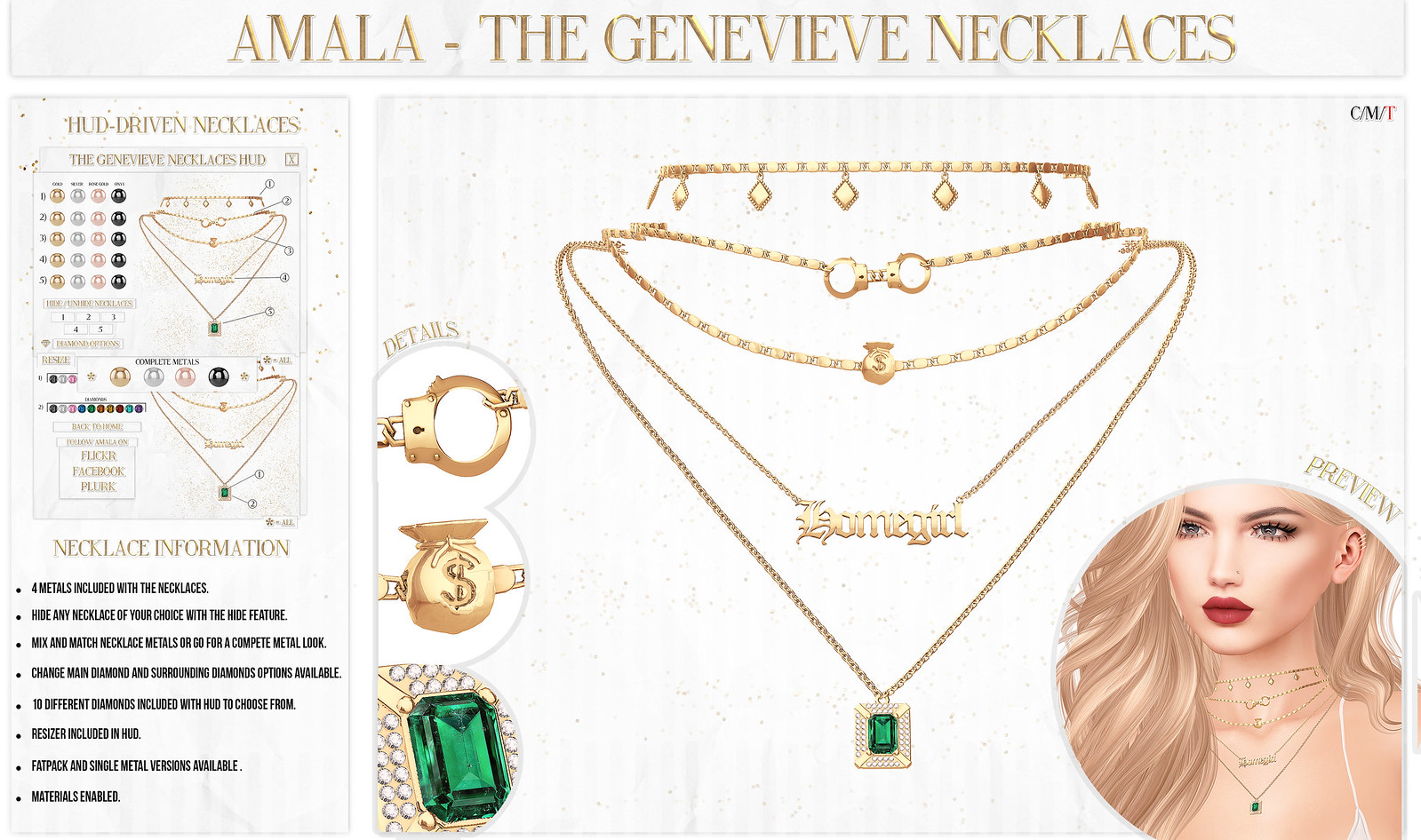 💋Amala - The Genevieve Necklaces for Kustom9💋
