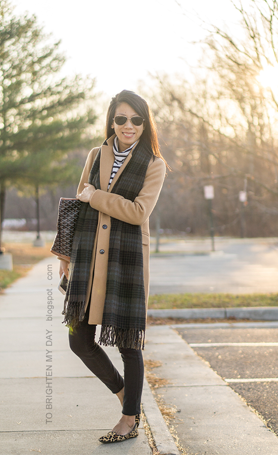 green plaid scarf, camel wool coat, striped turtleneck, monogrammed tote, black jeans, leopard flats