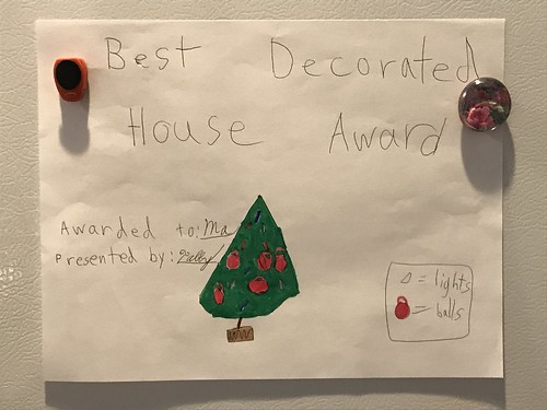 My granddaughter gave me an award.