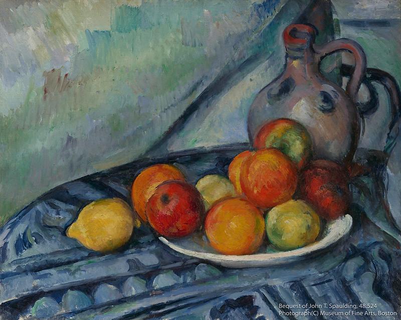 ポール・セザンヌ《卓上の果物と水差し》(1890-94年頃)ボストン美術館所蔵
