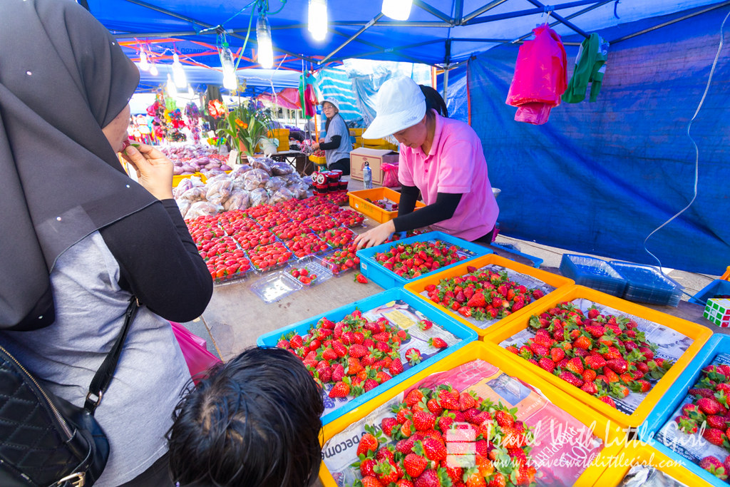 Selling fresh Strawberries everywhere at Pasar Malam