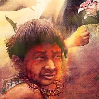 Ilustración y diseño de portada del libro Moxa, el hijo del sol