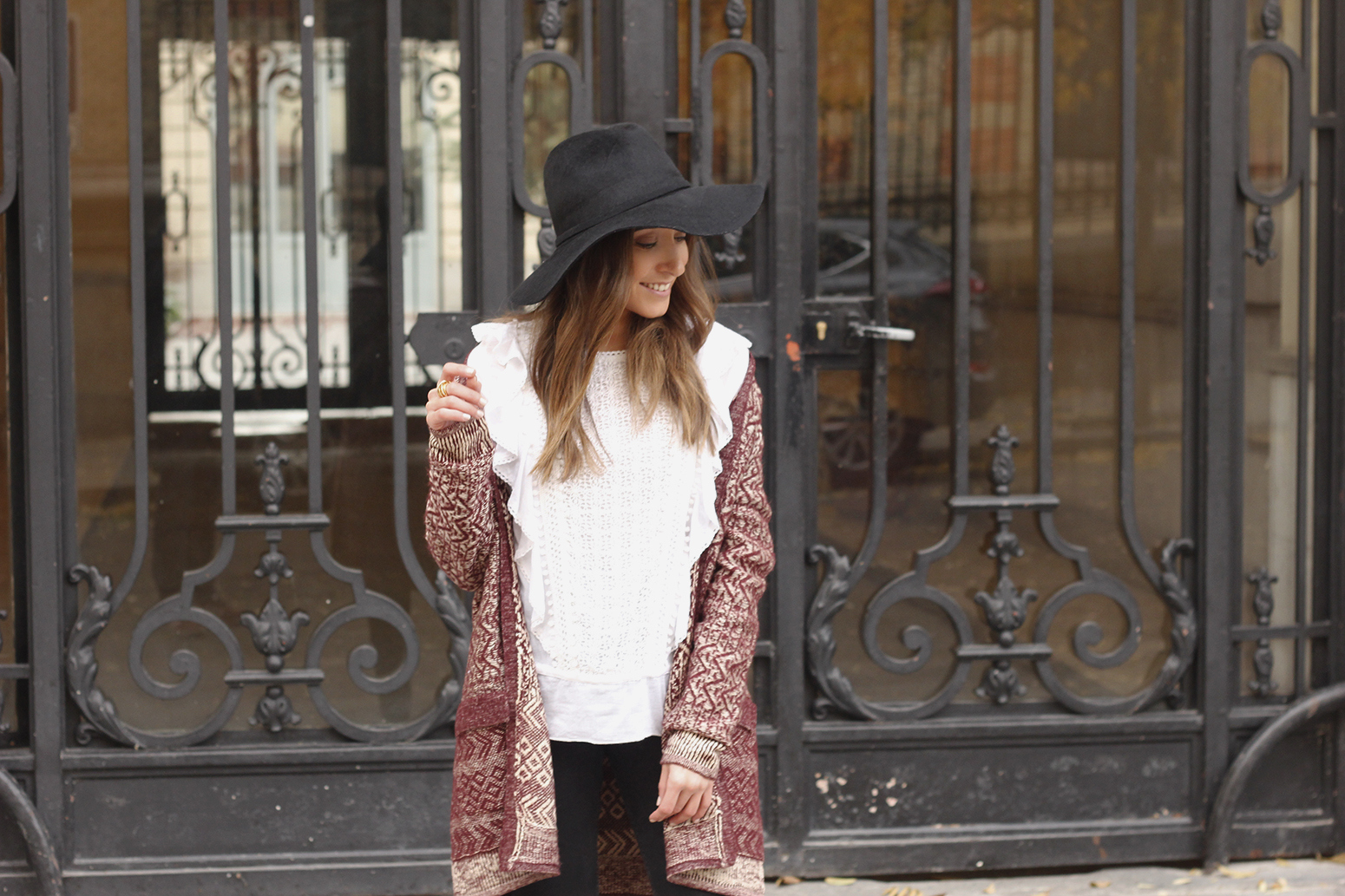 white blouse cardigan black jeans hat heels mdm fashion casual outfit06