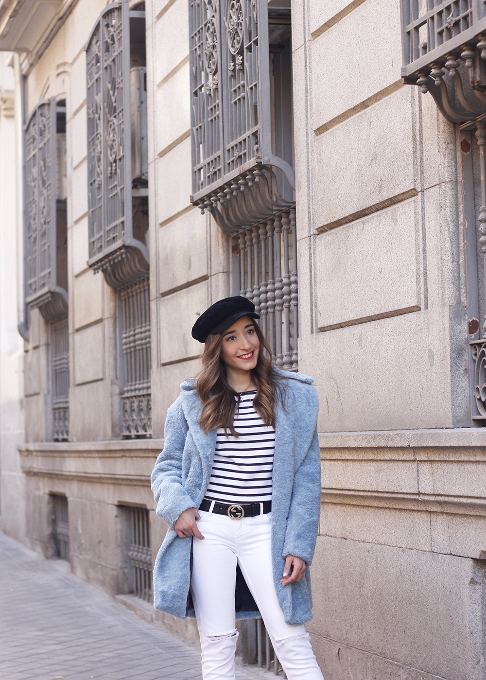 blue fur coat stripes white ripped jeans givenchy bag navy cap fall outfit street style11