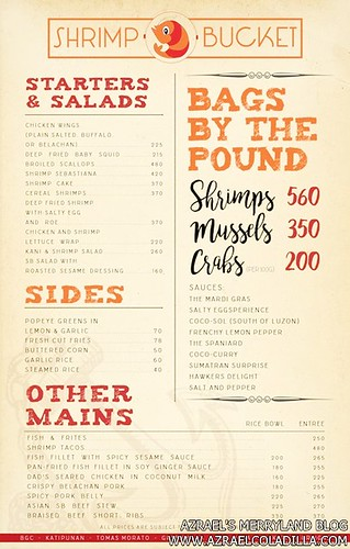Shrimp Bucket Menu Font - from their FB Page