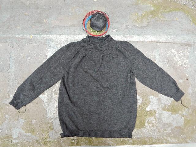 серый свитер | grey sweater finished