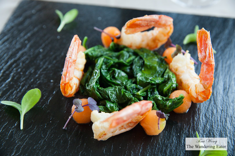 Prawns, spinach in olive oil and melon balls