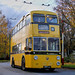 Yellow Trolley Bus In Autumn Tones.
