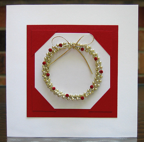 Dimensional Bead Wreath with Quilled Holly Berries Christmas Card