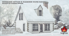 Trompe Loeil - Shoemaker Cottage, Hammered Silver Sleigh, and Snow Add-On for FaMESHed December
