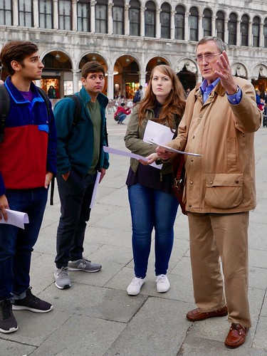 Venice Study Group Fall 2018 students with Prof. Albert Ammerman in St. Mark's Square 2