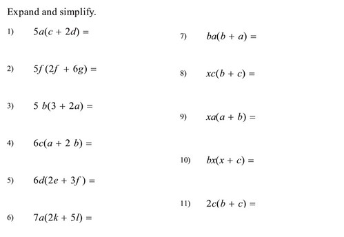 Algebra - Expansion and simplifying terms