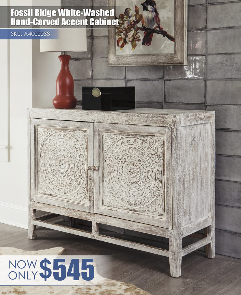 A4000038 - Fossil Ridge White Washed Hand Carved Accent Cabinet $545