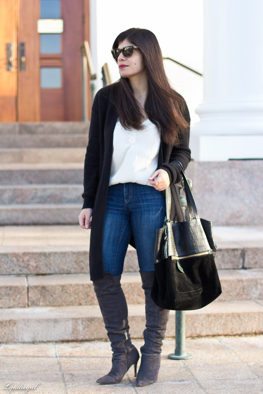 CT Fashion blogger wearing a lace cami, black long cardigan, over the knee boots, jeans.jpg