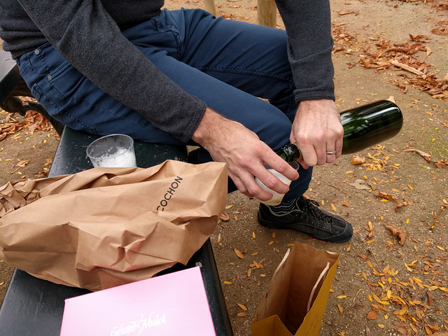 pouring champagne in the park