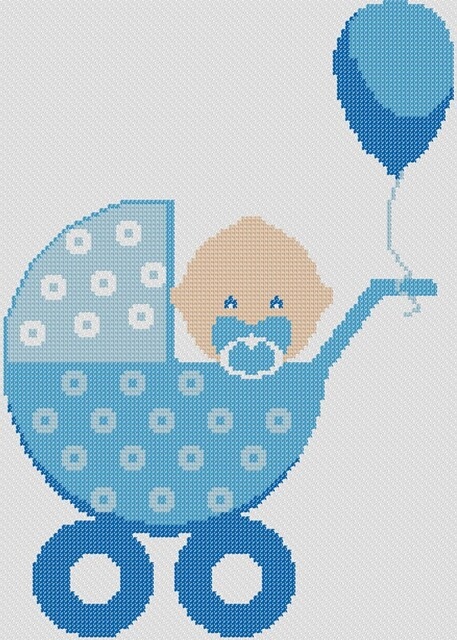 Preview of Baby In Bassinet: free baby boy cross stitch patterns