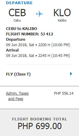 Cebu to Kalibo Promo June 9, 2018