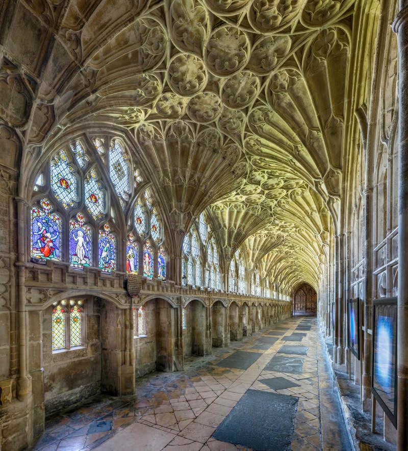 The cloister of Gloucester Cathedral in Gloucestershire. Credit David Iliff