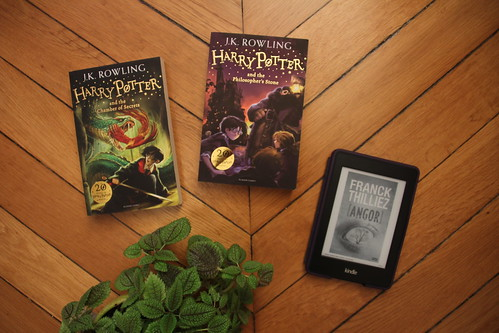 Harry Potter and the Philosopher's Stone (Harry Potter, #1) by J.K. Rowling // Harry Potter and the Chamber of Secrets (Harry Potter, #2) by J.K. Rowling // Angor de Franck Thilliez