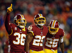 Fuller Flanked by Swearinger and Breeland Just After Fuller's Interception