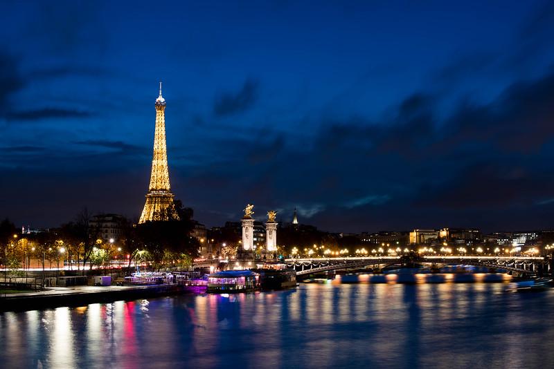 Paris - Eiffel Tower and Seine at Night