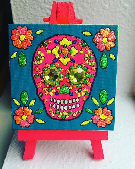 Finished the little sugar skull painting for my Aunt Claire! 💖✨✨✨