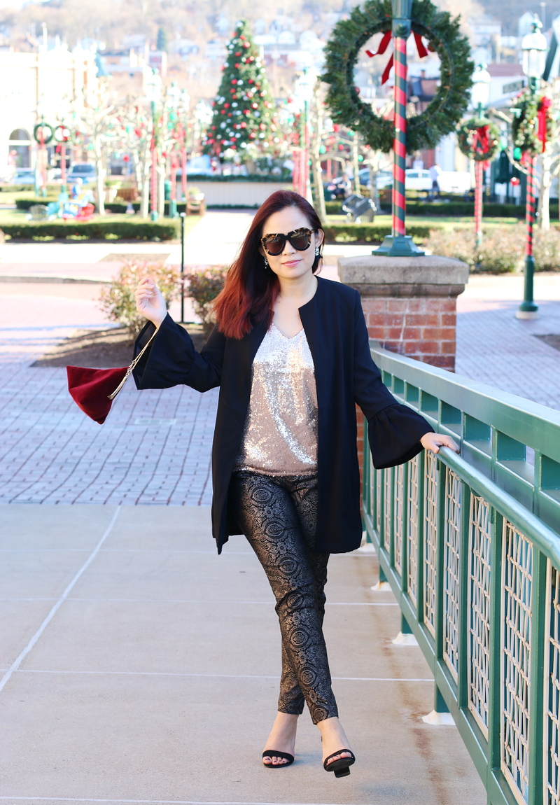 holiday-outfit-black-blazer-metallic-pants-sequins-top-2